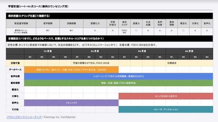 フラミンゴオンラインコーチングのカリキュラム例