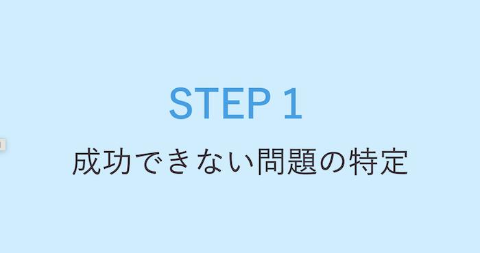 1. 成功できない問題の特定を知る
